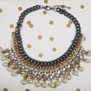 Jewels and Chain Statement Necklace